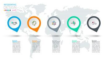 Infografik mit Kreisbeschriftung Schritt für Schritt. vektor