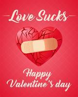 Brutet hjärta förseglat med medicinskt bandage. Röda glasskärmar. Vektor realistisk illustration
