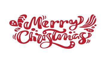 Kalligraphie-Beschriftungs-Vektortext der frohen Weihnachten roter. Für Kunstvorlagenentwurfslistenseite, Modellbroschürenart, Bannerideenabdeckung, Broschürendruckflieger, Plakat
