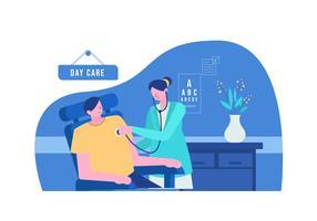 Läkare Kontrollera För Hälso- och sjukvård I Clinic Vector Flat Illustration