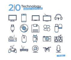 Teknikobjektikoner ställda för design online butik. Tunna linjekonst vektor illustrationer