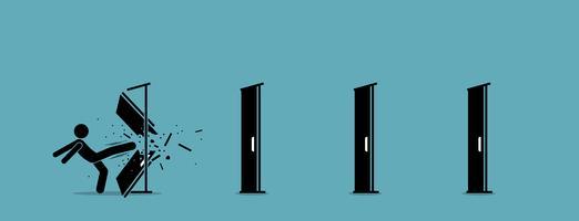 Mannen sparkar ner och förstör dörren en efter en.