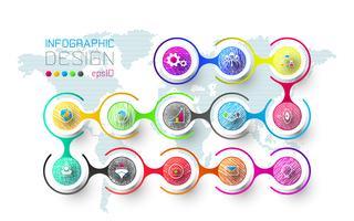 Geschäftsinfografik mit 13 Schritten.