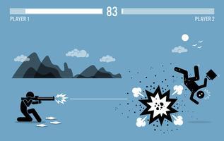 Zerstörung des Geschäftskonkurrenten mit einer Bazooka.
