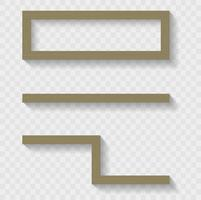 Holzregale für das Wohnzimmer oder den Laden. Transparente Schatten. Vektorgrafiken