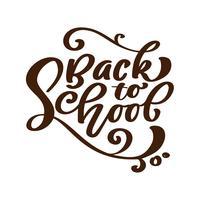 Zurück zu handgeschriebenem Beschriftungstext der Schule. Label Kalligraphie-Vektor-Illustration