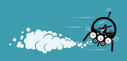 Affärsman som flyger i en tidsmaskin går till framtiden eller förflutna.