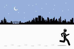 Läufer läuft, während er während der Nacht Abdrücke auf dem laufenden Feld in der Stadt hinterlässt. vektor