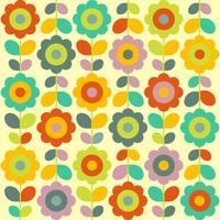 Nahtlose Blumen-Retro- Muster-Tapete vektor
