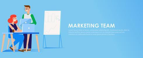 Marknadsföringsteam banner. Man och kvinna på kontoret på datorn och surfplattan. Grafer, tabeller och diagram. Vektor platt illustration