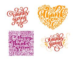 Sats med kalligrafi-text Tack för lyckliga tacksägelsedagen. Holiday Family Positiva citat bokstäver. Vykort eller affisch grafisk design typografi element. Handskriven vektor