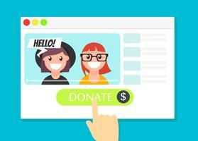 Das Browserfenster mit der Schaltfläche Spenden. Geld für Videoblogger. Flache Vektorillustration]