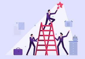 Geschäftsleute, die in der Gruppen-Arbeits-Vektor-flachen Illustration zusammenarbeiten vektor