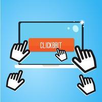 Clickbait. Cursor der Hand fliegen zum Laptop, drücken Sie die Taste. Digitales Marketing. Flache Vektorillustration vektor