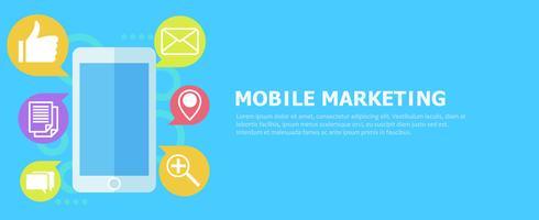 Mobile Marketing banner. Telefon med ikonpost. Vektor platt illustration