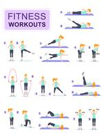 Sats av ung kvinna klädd i fitness kläder gör sport träning. Tjej gör gymnastik med hantlar. Tecknad tecken isolerad på vit bakgrund. Platt vektor illustration.