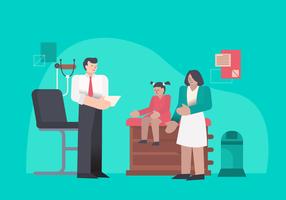 Doktor schlagen medizinische Überprüfungs-Empfangs-Vektor-Illustration vor vektor