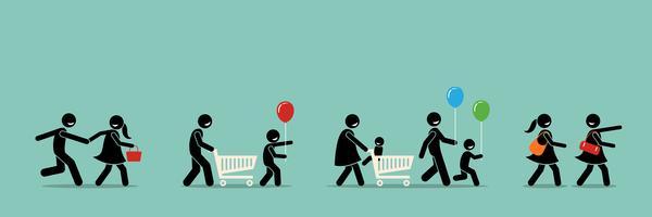 Glückliche Einkäufer gehen zum Einkaufen, zum Karneval und zur Veranstaltung. vektor