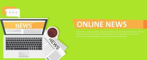 Banner online nyheter. Dator, kaffe, tidning. Vektor platt illustration