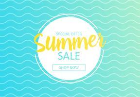 Hej sommar. Banner av försäljning i onlinebutik. Specialerbjudanden, handla nu. Vektor tecknad illustration