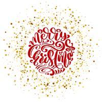 Vektortext der frohen Weihnachten kalligraphische Briefgestaltungskartenschablone. Kreative Typografie für Holiday Greeting Gift Poster. Kalligraphie-Schriftstil Banner