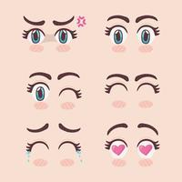 uppsättning manga ögon vektor