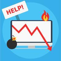 """Computer in Brand mit """"Help"""" -Zeichen und Bombe mit beleuchteter Sicherung"""