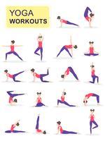 Sats av ung kvinna som utför fysiska övningar vektor