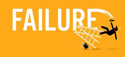 Målare målar ordet misslyckande på en vägg genom att klättra upp på en stege men föll ner eländigt.