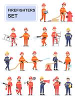 Set Feuerwehrleute, die ihre Arbeit erledigen vektor