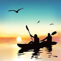 Schattenbild der lustigen kayaking Mädchen.
