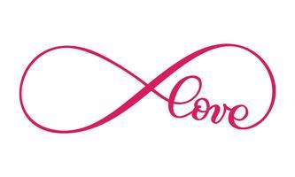 Liebeswort Im Zeichen der Unendlichkeit. Postkarte auf den Valentinstag anmelden, tätowieren, drucken. Vector die Kalligraphie- und Beschriftungsillustration, die auf einem weißen Hintergrund lokalisiert wird