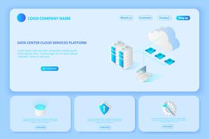 Header för webbplatsen för plattformsdata-molntjänster vektor