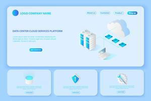 Header für die Website der Plattform Cloud-Services für Rechenzentren