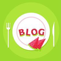 Food Blog Banner. Platte mit Buchstaben aus Wassermelone und dem Wort Blog. Flache Vektorillustration