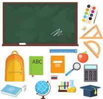 Tillbaka till skolan färgglada ikoner och vektor designelement. Utbildning skrivartillbehör och verktyg isolerade på vit bakgrund.