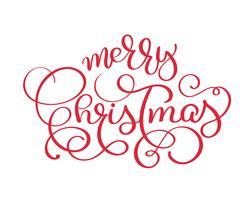Roter Vektorweinlesetext der frohen Weihnachten. Kalligraphische Briefgestaltung Kartenvorlage. Kreative Typografie für Holiday Greeting Gift Poster. Kalligraphie-Gussart Fahne lokalisiert auf weißem Hintergrund