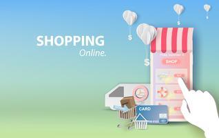 Abbildung des Einkaufens on-line-Sommerschlussverkaufs auf Smartphone