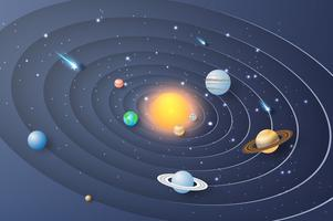 Papierkunst des Sonnensystemkreishintergrundes.