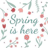 Bunte natürliche Blumen, Blätter und Zitat zum Frühling