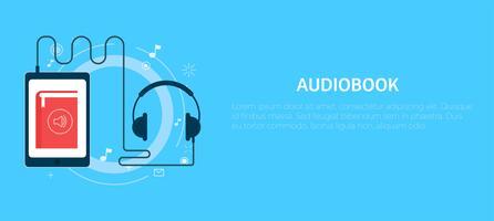 Online ljudbokbanner. Vektor platt illustration