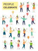 Sats av unga glada skratta människor som hoppar med höjda händer