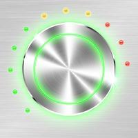 Einfarbiger Volumenknopf auf metallischem Blatthintergrund. vektor