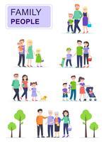 Sats av lyckliga traditionella familjer med barn