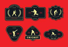 cicket player label vector pack