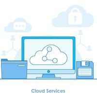 Cloud services banner. Dator med lagring online, överföring av filer till andra enheter. Vektor platt linje illustration