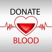 Blutspendenmedizin hilft Krankenhaus, Lebenherz zu retten. Vektor realistische Darstellung