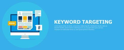 Banner för sökordsinriktning. Dator med text och ikoner. Vektor platt illustration