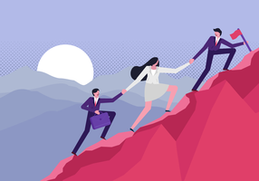 Kletternde Unternehmensziele-Vektor-flache Illustration