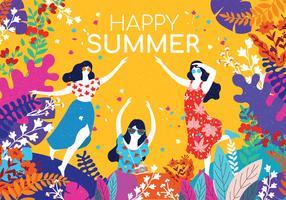 Människor Njut av Summer Wirh Flowers Border Vector